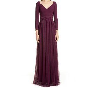 Ciara Boni Liene Long Sleeve Gathered A-Line Gown